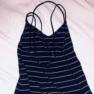 Navy blue striped LULULEMON tank top